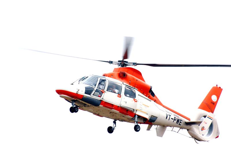 Congress president Sonia Gandhi's helicopter arrives at the venue of her rally at Chevella Parliamentary Constituency near Hyderabad  on April 27, 2014.