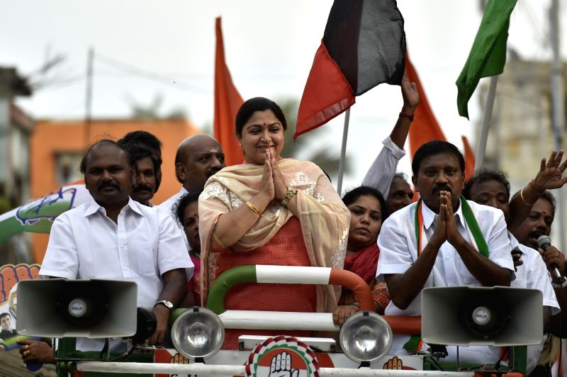 Congress spokesperson Kushboo during an election campaign ahead of Tamil Nadu assembly polls in Chennai, on May 13, 2016.