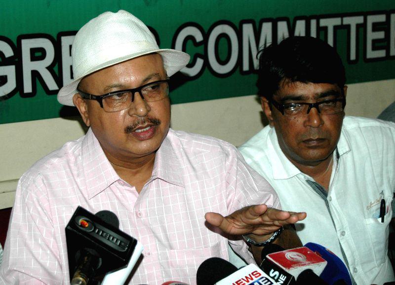 Congress spokesperson Mehdi Alam Bora addresses a press conference at Rajiv Bhawan in Guwahati on July 22, 2014.