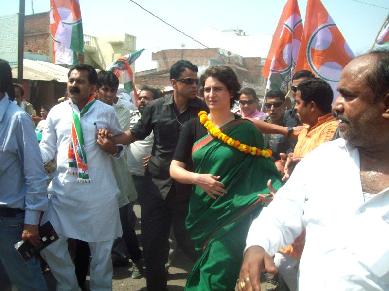 Congress star campaigner Priyanka Gandhi during a 'padyatra' in Ramganj of Uttar Pradesh's Amethi on April 30, 2014. She is campaigning for Congress vice president and her brother Rahul Gandhi who is - Rahul Gandhi