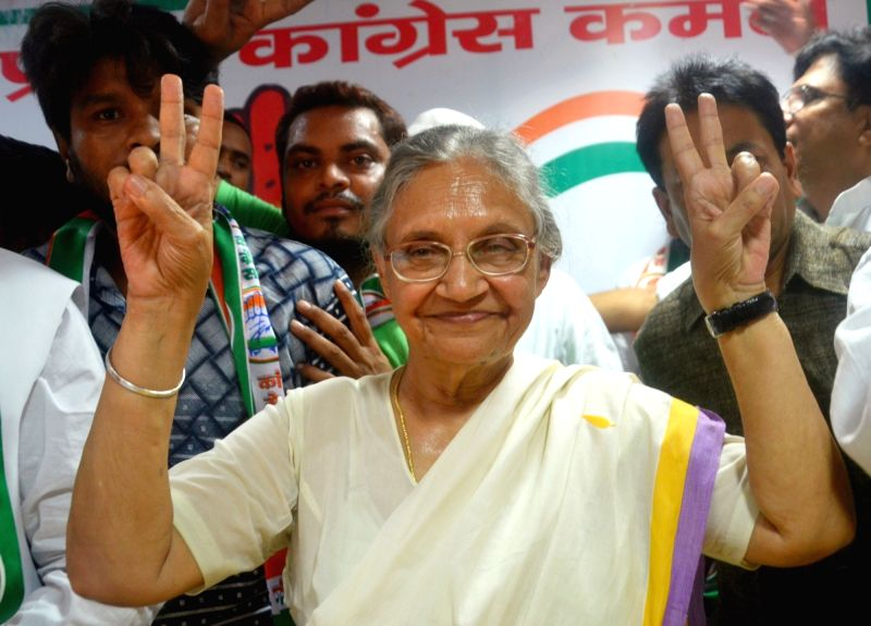Congress Uttar Pradesh chief ministerial candidate Sheila Dikshit during  a press conference in Lucknow on Aug 8, 2016. - Sheila Dikshit