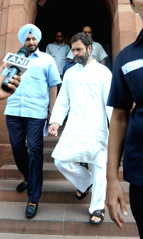 Congress Vice President and Amethi MP Rahul Gandhi at the Parliament in New Delhi on Aug 14, 2014. - Rahul Gandhi