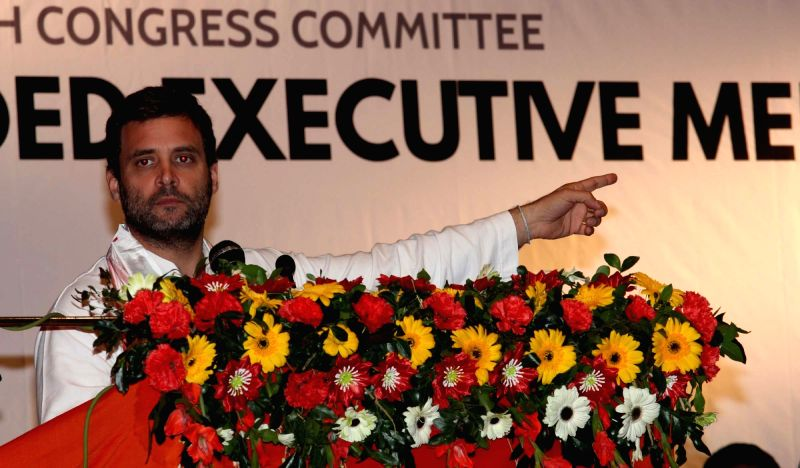 Congress vice president Rahul Gandhi addresses during a party programme in Guwahati on Dec 11, 2015.