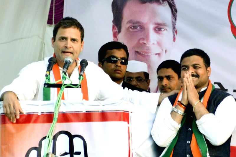 Congress Vice President Rahul Gandhi addresses during a rally at Bhagwantnagar in Unnao, Uttar Pradesh on Feb. 17, 2017. - Rahul Gandhi