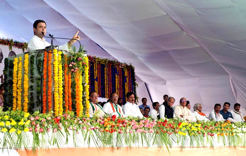 Congress vice president Rahul Gandhi addresses during a public meeting at Dediapada Taluk of Gujarat's Narmada district on May 1, 2017. - Rahul Gandhi