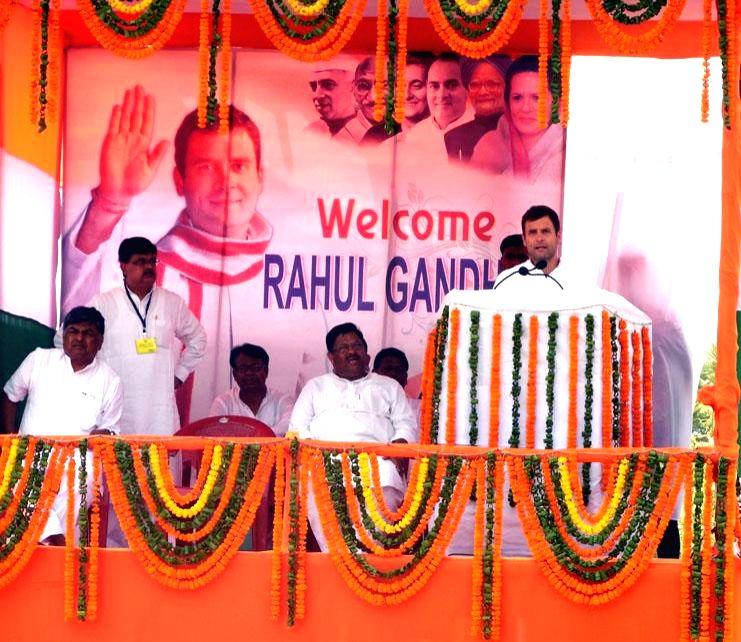 Congress vice president Rahul Gandhi addresses a rally in Jagatsinghpur district of Odisha on April 14, 2014. (Photo : Arabinda Mahapatra/IANS)