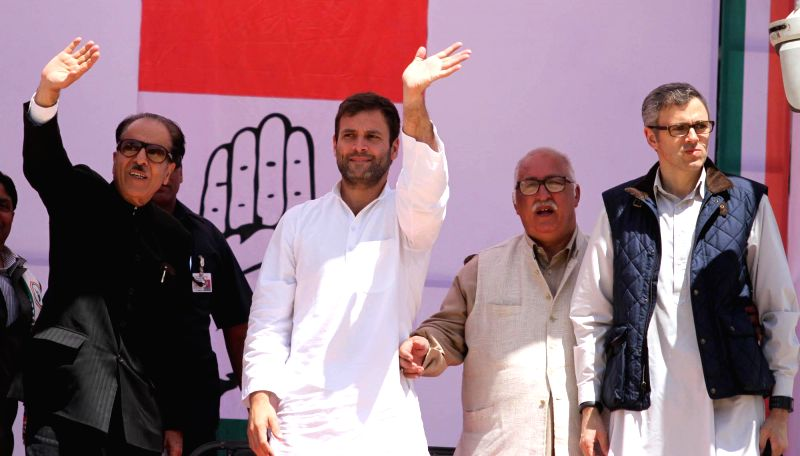 Congress vice president Rahul Gandhi addressing an election rally organised jointly by National Conference and state Congress. Rahul Gandhi was flanked by J&K Chief Minister Omar Abdullah and ... - Omar Abdullah