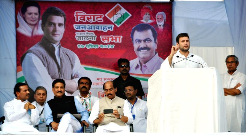 Congress vice president Rahul Gandhi addressing an election rally at Jalna, Maharashtra on April 17, 2014.