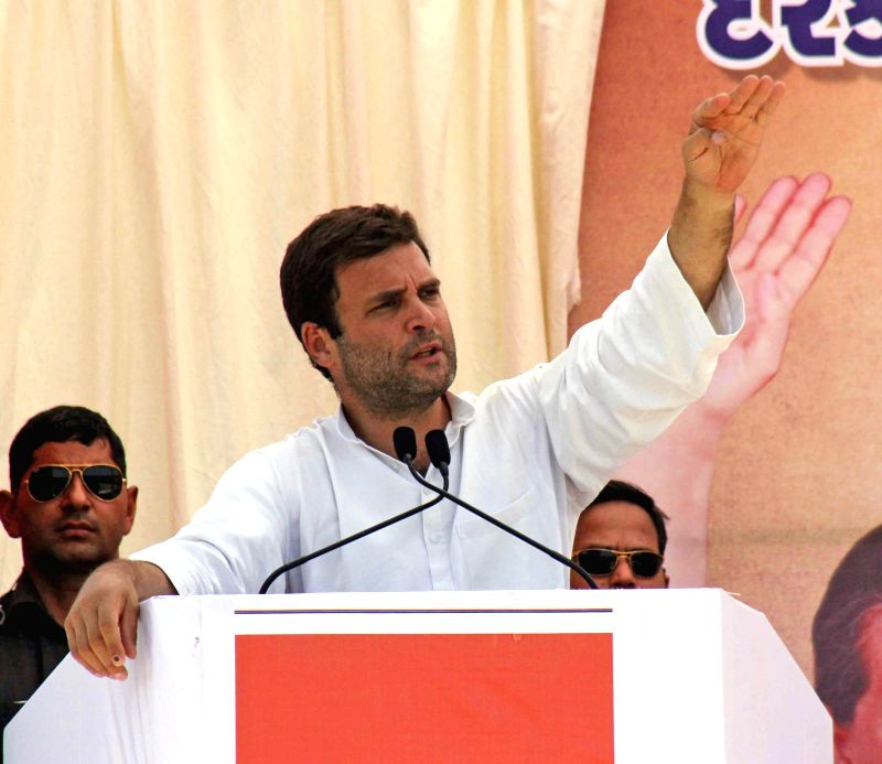 Congress vice president Rahul Gandhi addressing a public meeting at Amreli district of Gujarat on April 26, 2014.