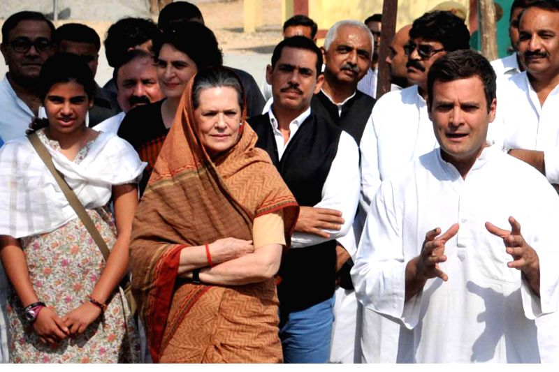 Congress vice president Rahul Gandhi along with his mother Sonia Gandhi, sister Priyanka Vadra, brother in law Robert Vadra and his niece Miraya Vadra on way to file nomination papers for Amethi Lok . - Sonia Gandhi