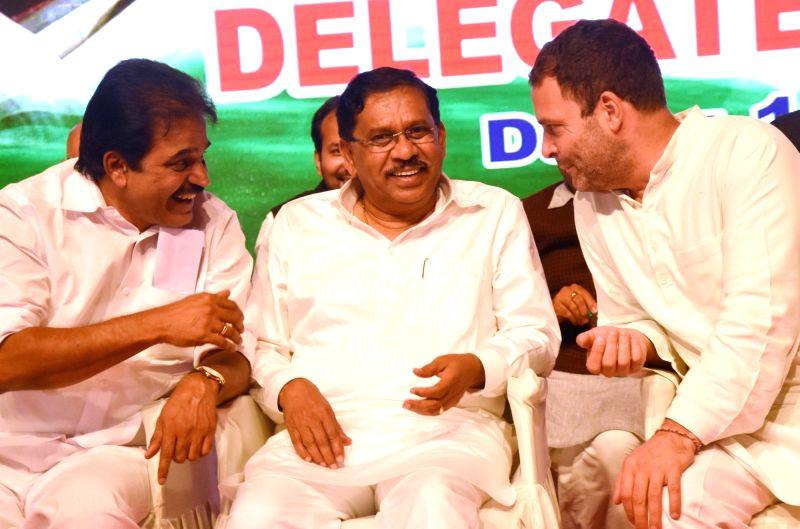 Congress Vice President Rahul Gandhi and Karnataka Home Minister G Parameshwara during Congress Committee meeting in Bengaluru on June 12, 2017. - G Parameshwara and Rahul Gandhi
