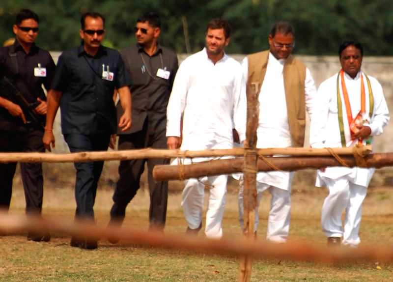 Congress vice president Rahul Gandhi arrives at the venue of his rally in Mahboobnagar district of Andhra Pradesh on April 21, 2014.