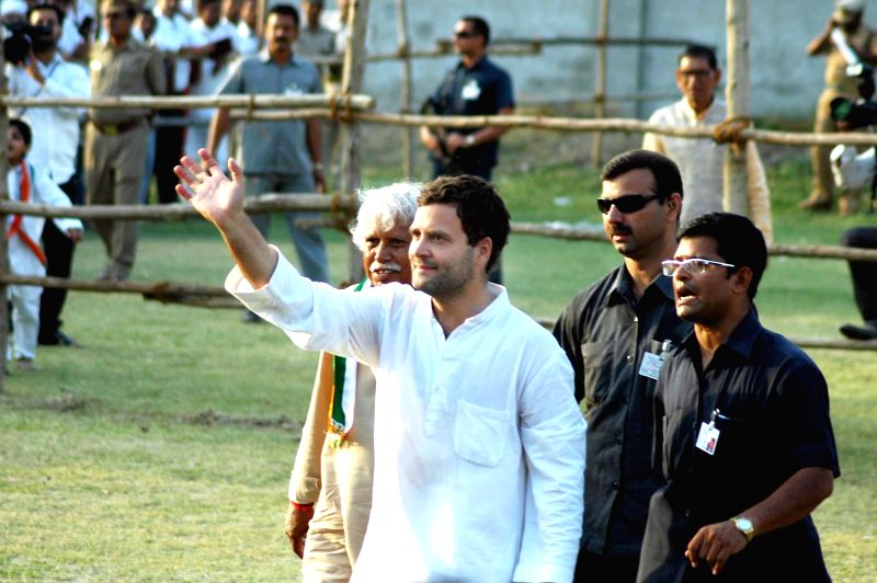 Congress vice-president Rahul Gandhi arrives at the venue of his rally in Allahabad on May 5, 2014.