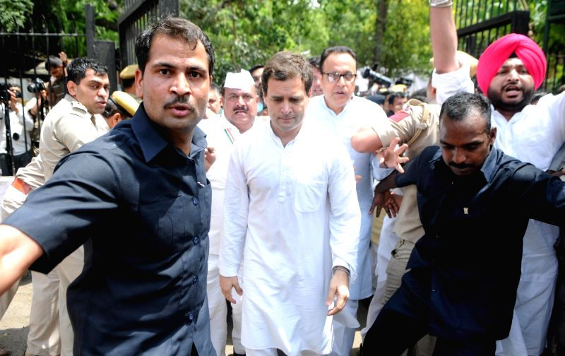 "Congress vice president Rahul Gandhi arrives to participate in ""Loktantra Bachao"" rally at Jantar Mantar in New Delhi on May 6, 2016. - Rahul Gandhi"