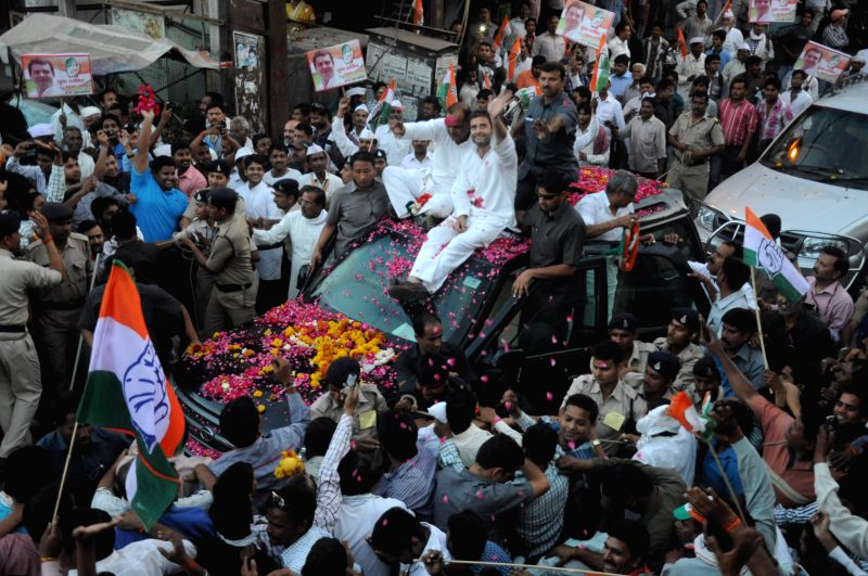 Congress vice president Rahul Gandhi during a road show in Gwalior on April 10, 2014.