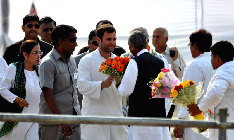 Congress vice president Rahul Gandhi during a rally in Unnao of Uttar Pradesh where he campaigned for Congress candidate for 2014 Lok Sabha Election from Unnao  Annu Tandon, on April 16, 2014.
