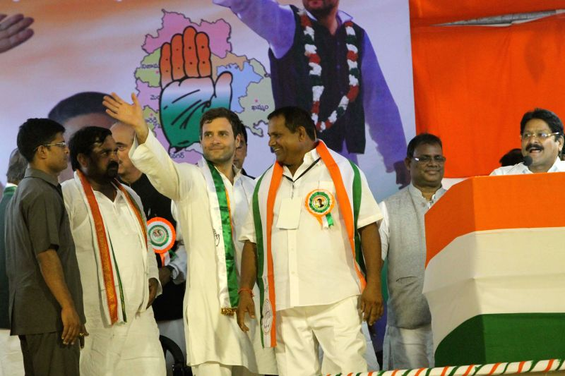 Congress vice president Rahul Gandhi during a rally in Hyderabad on April 25, 2014.