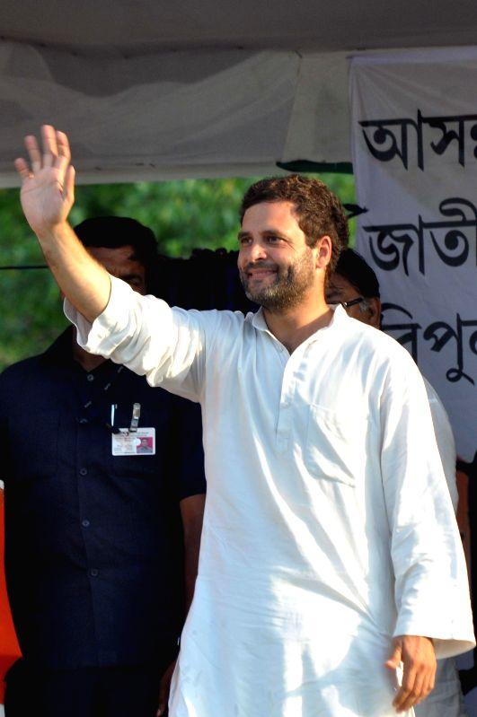 Congress vice president Rahul Gandhi during a rally at Sahid Minar in Kolkata on  May 8, 2014.