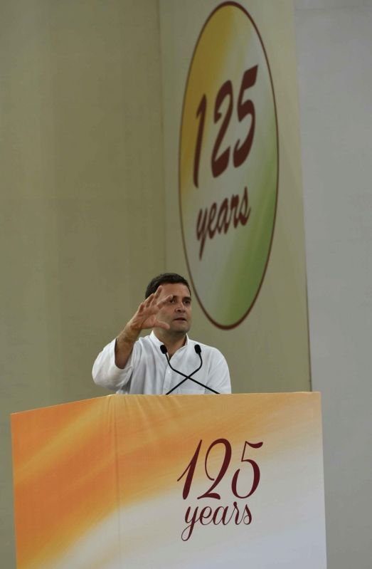 Congress vice president Rahul Gandhi during a programme organised to pay tribute to former Prime Minister Pandit Jawaharlal Nehru on his 126th birth anniversary in New Delhi on Nov 14, ... - Pandit Jawaharlal Nehru and Rahul Gandhi