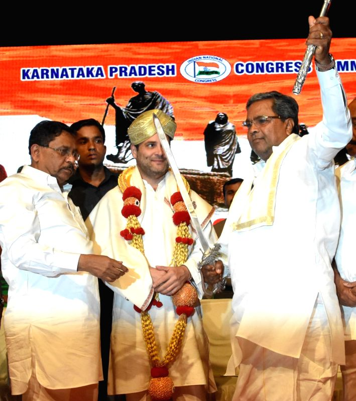 Congress Vice President Rahul Gandhi, Karnataka Chief Minister Siddaramaiah and Home Minister G Parameshwara during Congress Committee meeting in Bengaluru on June 12, 2017. - Siddaramaiah and Rahul Gandhi