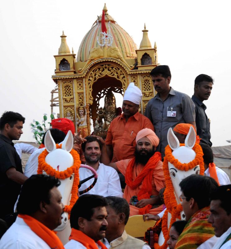 Congress Vice President Rahul Gandhi participates in a procession organised on Valmiki Jayanti at Red Fort in New Delhi, on Oct 27, 2015.