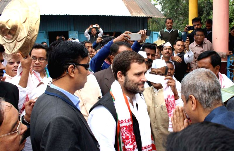 Congress Vice President Rahul Gandhi participates in a march at Barpeta of Assam on Dec 12, 2015.