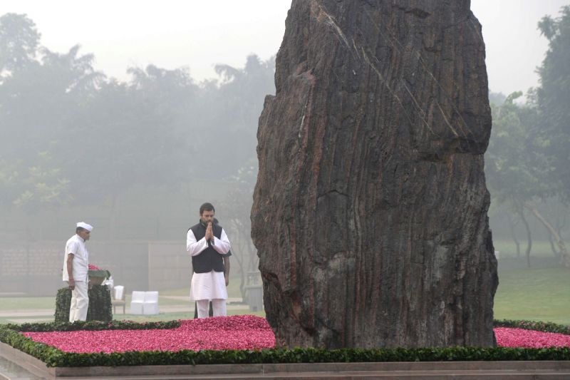 Congress vice president Rahul Gandhi paying homage at the samadhi of former Prime Minister Indira Gandhi to commemorate her 31st death anniversary at Shakti Sthal, New Delhi on Oct. 31, ... - Rahul Gandhi