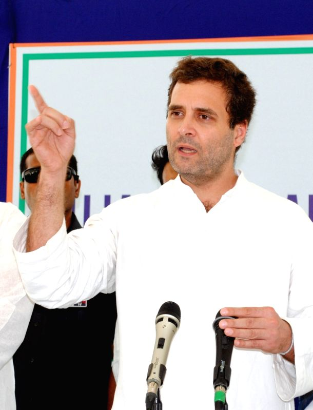 Congress vice president Rahul Gandhi talks to press after meeting the parents of Una's village victims at Samdhiyala village; in Rajkot on July 21, 2016. - Rahul Gandhi