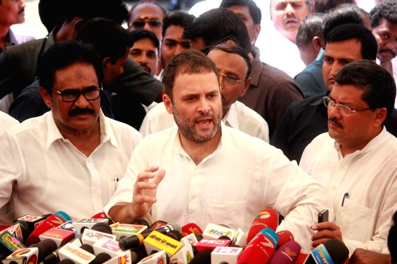Congress vice president Rahul Gandhi talks to press in Chennai on June 4, 2017. - Rahul Gandhi