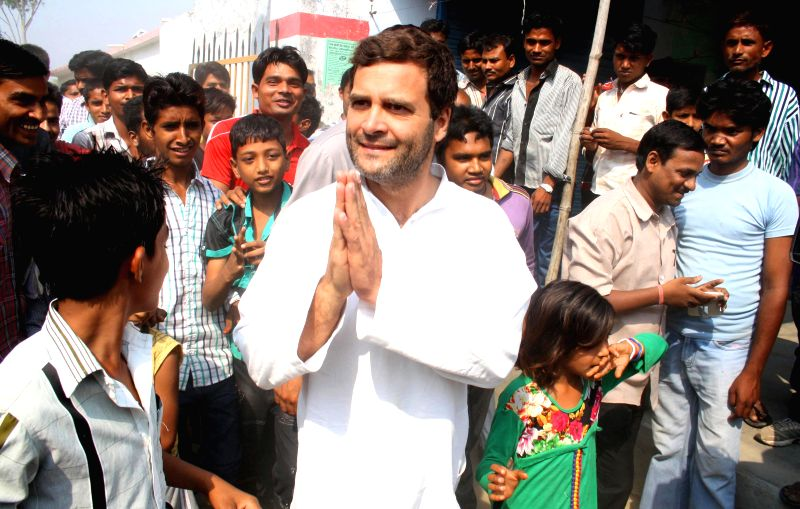 Congress vice president Rahul Gandhi visits polling booths during the eighth phase of 2014 Lok Sabha Polls in Amethi of Uttar Pradesh on May 7, 2014.