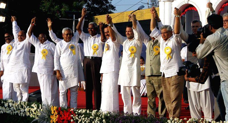 Congress vice president Rahul Gandhi with Puducherry Chief Minister V Narayanaswamy, Bihar Chief Minister Nitish Kumar, JD(U) leader K.C. Tyagi, CPI leader D.Raja, DMK working president M.K. ... - V Narayanaswamy, Sitaram Yechury, Rahul Gandhi and Nitish Kumar