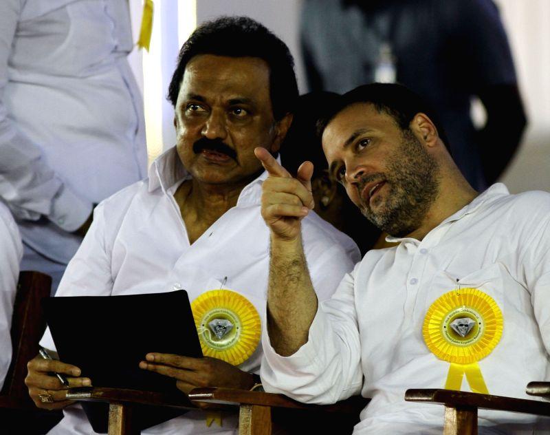 Congress vice president Rahul Gandhi with DMK working president M.K. Stalin during DMK chief Karunanidhi's birthday celebrations in Chennai on June 3, 2017. - Rahul Gandhi