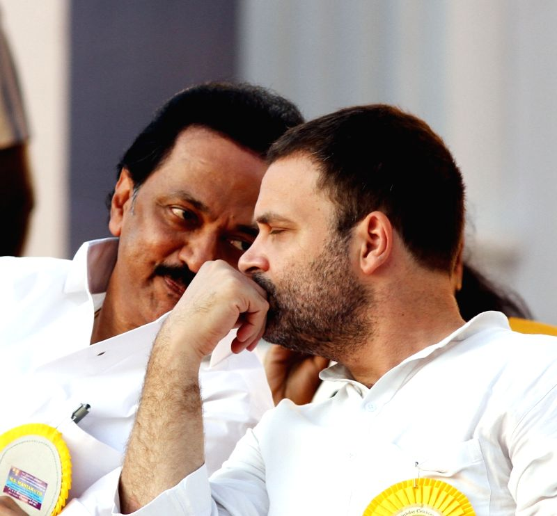 Congress vice president Rahul Gandhi with DMK working president M.K. Stalin during DMK chief Karunanidhi's birthday celebrations in Chennai on June 3, 2017. - Rahul Gandhi