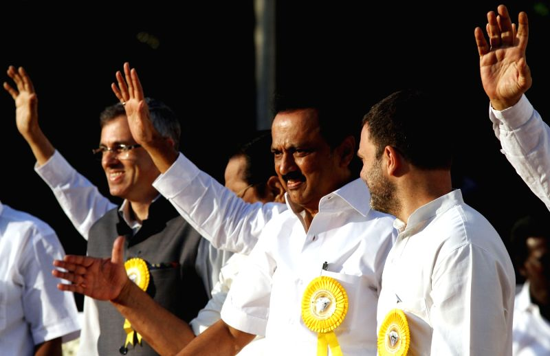 Congress vice president Rahul Gandhi with DMK working president M.K. Stalin and National Conference leader Omar Abdullah  during DMK chief Karunanidhi's birthday celebrations in Chennai on ... - Rahul Gandhi