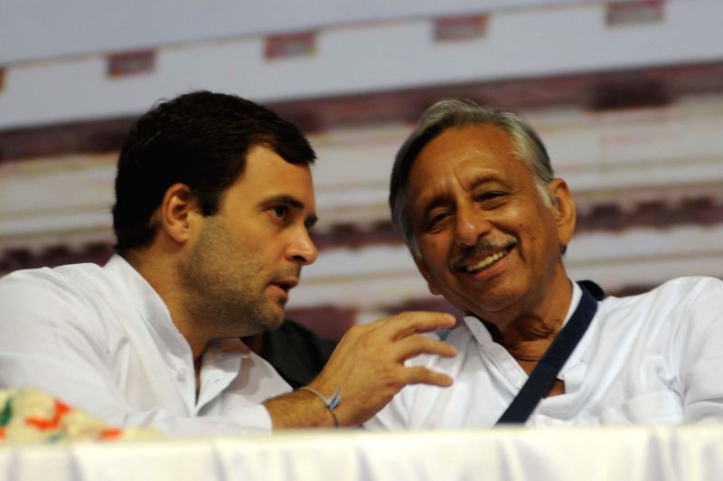 Congress Vice President Rahul Gandhi with party leader Mani Shankar Aiyar during a programme organised on 70th birth anniversary of former Prime Minister Rajiv Gandhi at Talkatora Stadium in New ... - Rahul Gandhi