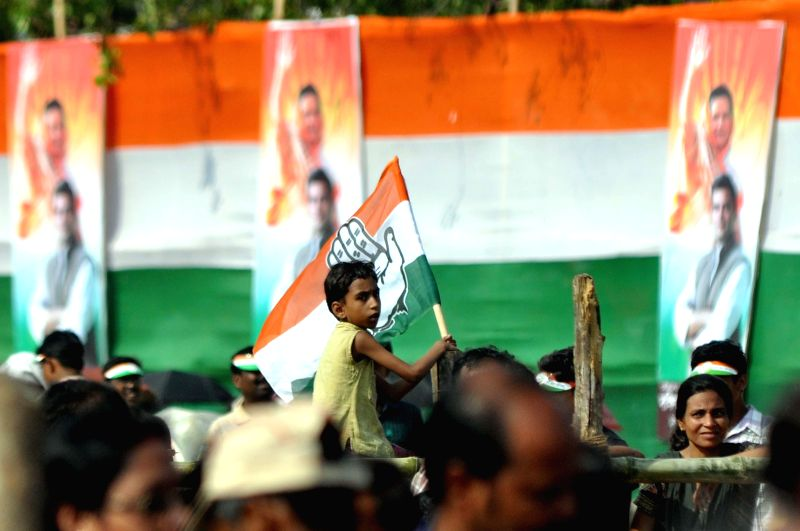 Congress workers gather during Congress vice president Rahul Gandhi's rally in Kolkata on  May 8, 2014.