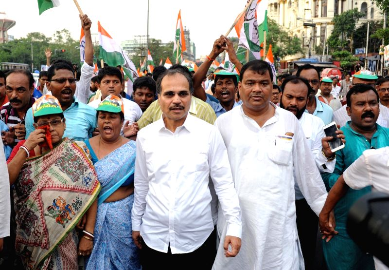 Congress workers led by Adhir Ranjan Chowdhury stage a demonstration against deteriorating law and order situation in Kolkata, on May 27, 2017.