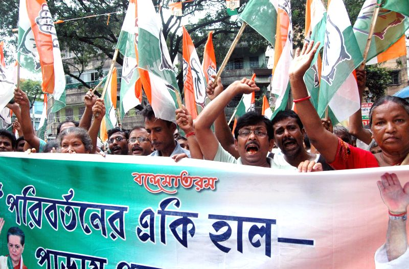 Congress workers participate in a rally against Mamata Banerjee-led West Bengal government and Krishnanagar MP and Trinamool Congress leader Tapas Paul who was caught on a video threatening to gun ... - Mamata Banerjee