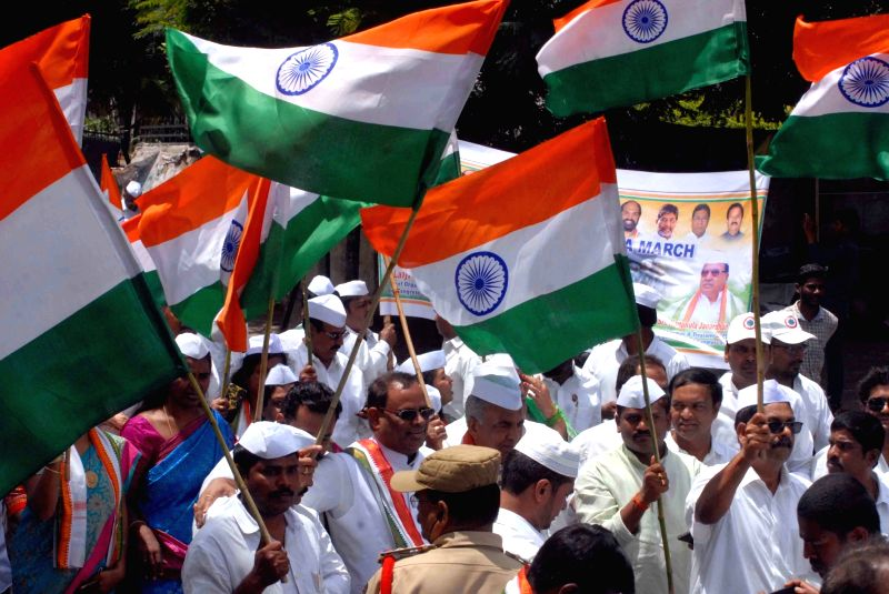 Congress workers participate in a rally organised on the 76th anniversary of Quit India movement, in Hyderabad on Aug 9, 2018.