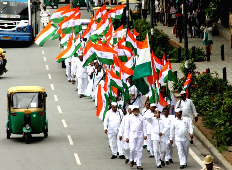Congress workers participate in a rally organised on the 76th anniversary of Quit India Movement, in Bengaluru on Aug 9, 2018.