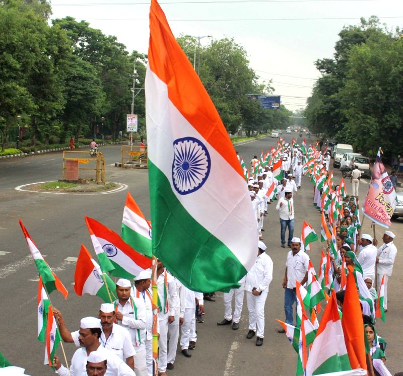 Congress workers participate in a rally organised on 76th anniversary of Quit India Movement, in Bengaluru on Aug 9, 2018.