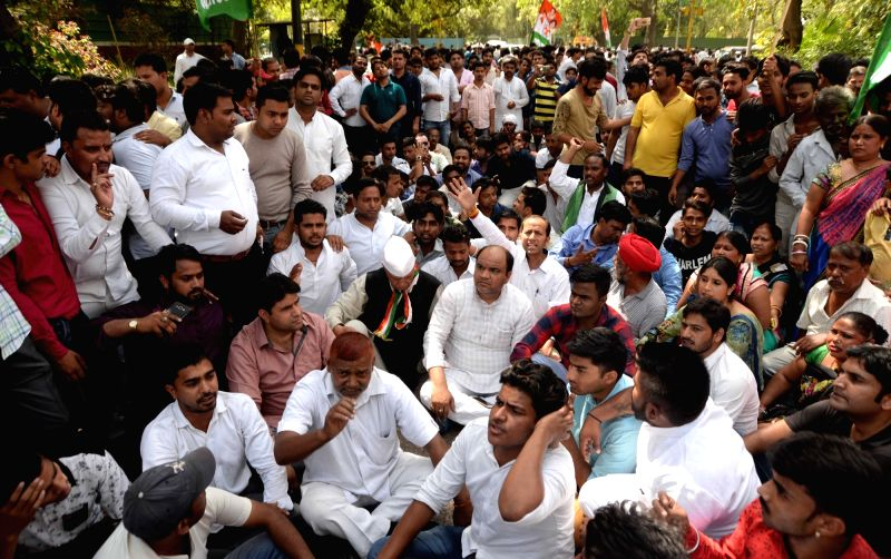 Congress workers protest outside Rahul's residence. (File Photo: IANS)