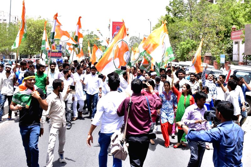Congress workers stage a demonstration against Prime Minister Narendra Modi in Jaipur, on May 25, 2017. - Narendra Modi