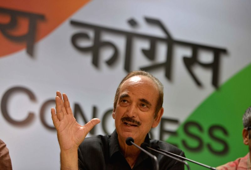 Congrss leader Ghulam Nabi Azad addresses a press conference at Congress headquarter in New Delhi on April 29, 2017.
