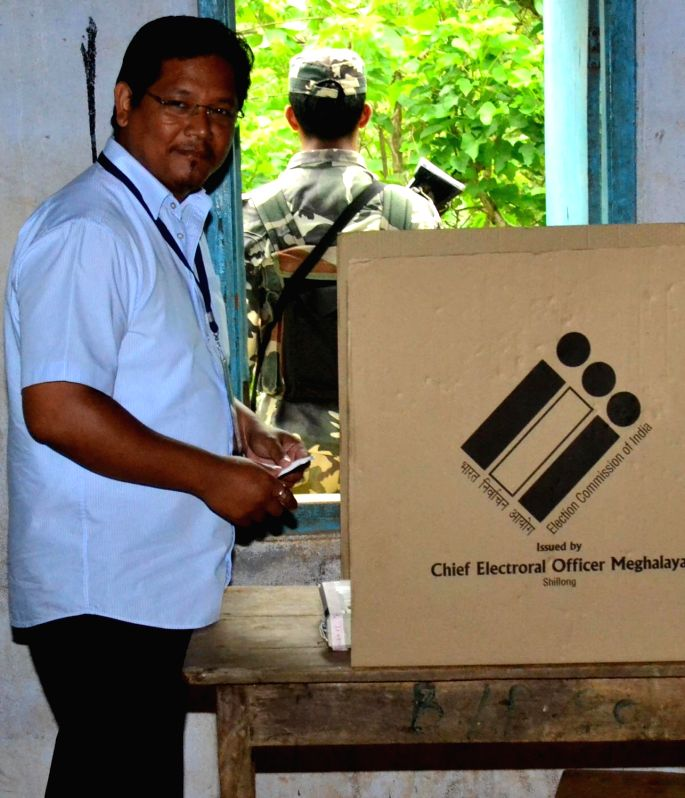 Conrad Sangma the younger son of former Lok Sabha speaker Purno Sangma casts his vote during the by-poll to Tura Lok Sabha seat in Meghalaya, on May 16, 2016. - Purno Sangma