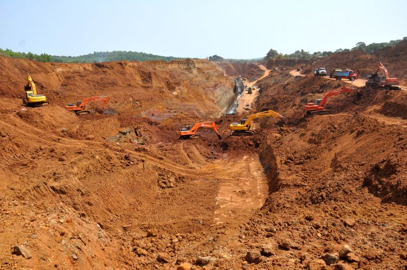 Construction of a canal which will divert the water of Mhadei river water to Karnataka underway at Kalasa Karnataka on May 5, 2014.