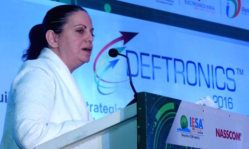 Consul General of Israel Yael Hashavit addresses during the inauguration of DEFTRONICS 2016, in Bengaluru on Aug 4, 2016.