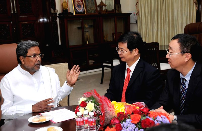 Consul General of the People`s Republic of China, Dr Liu Youfa and delegation called on Karnataka Chief Minister Siddaramaiah at Vidhana Soudha, in Bangalore on July 24, 2014.
