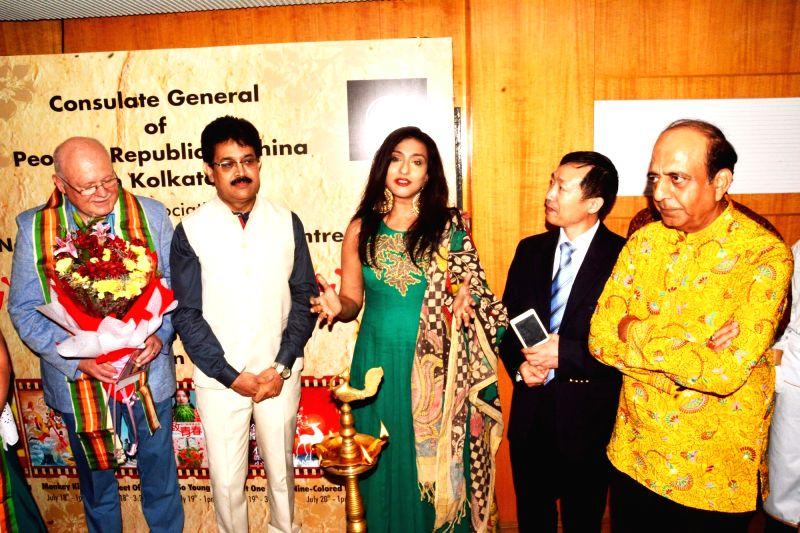 Consul General of the People's Republic of China in Kolkata Ma Zhanwu, actress Rituparna Sengupta and TMC leader Dinesh Trivedi during the inauguration of Chinese film festival in Kolkata on ... - Rituparna Sengupta
