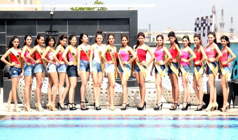 Contestants during the unveiling of the Glamorous Crowns of 'Senorita India 2016' Beauty Pageant in Mumbai on Sept 8, 2016.